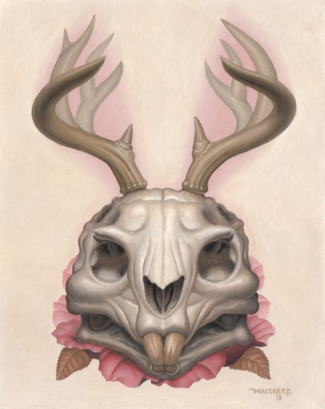 Softly-colored hare skull lying on rosy flower tattoo design