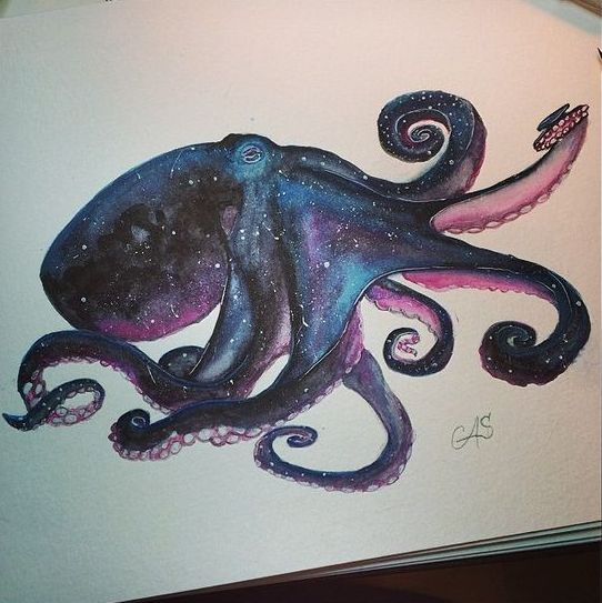 Space octopus with pink suckers tattoo design