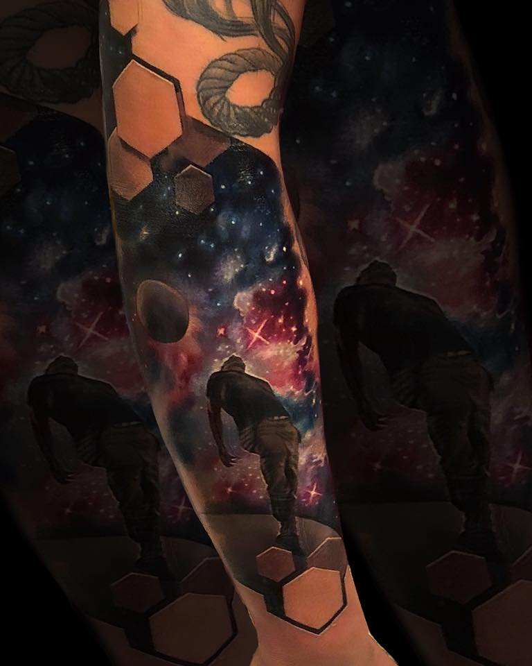 Space theme tattoo with 3d style hexagons