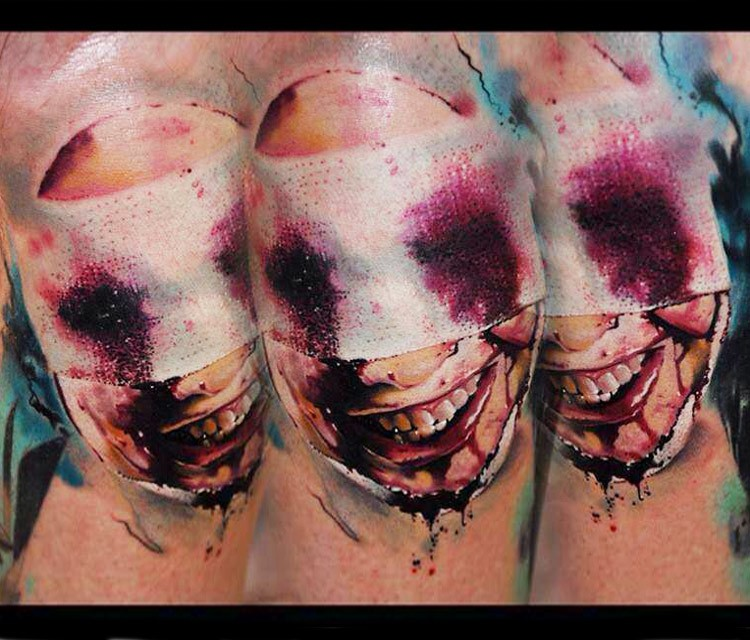 Spectacular horror style colored tattoo of bloody nurse face
