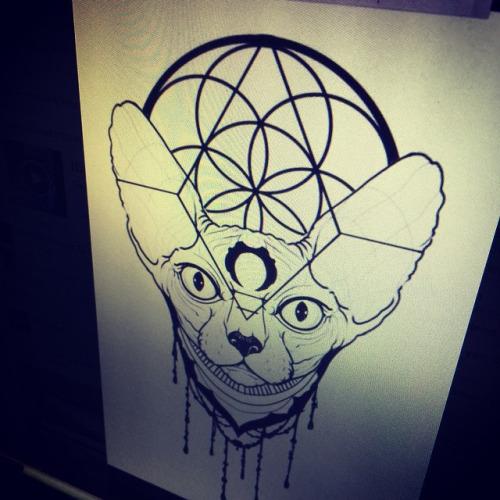 Sphynx cat with mystic geometric signs tattoo design