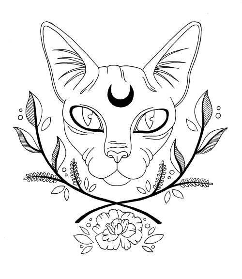 Sphynx cat with reverse moon sign and crossed branches tattoo design