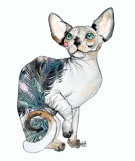 Sphynx cat with tropic leaved pattern on skin tattoo design