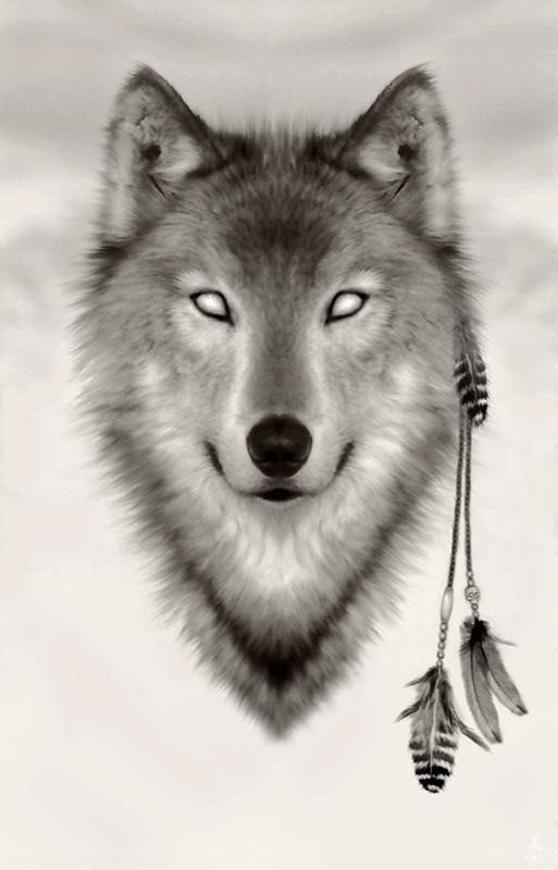 Spirit wolf head with empty eyes design by Miskis