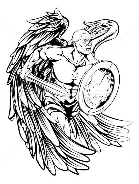 Splendid black-and-white angel warrior with a sword and a shield tattoo design