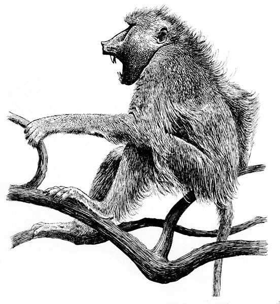 Splendid black-and-white crying baboon sitting on branches tattoo design
