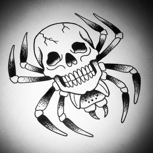 Splendid black-and-white spider with skull torso tattoo design