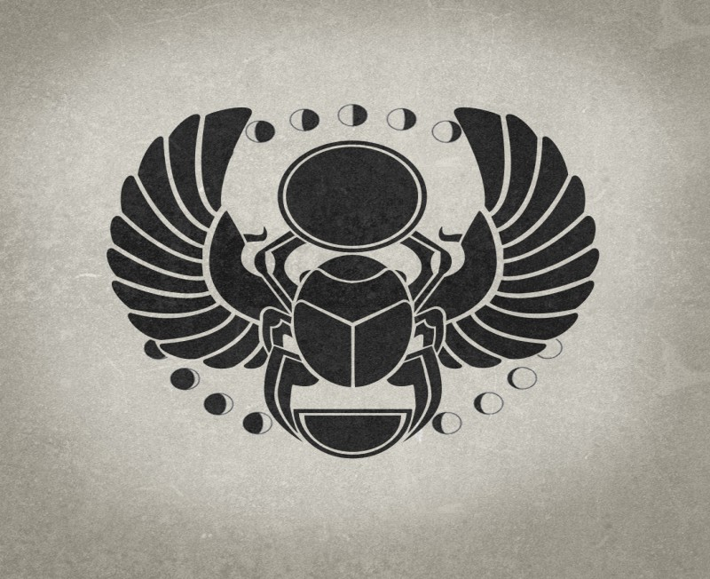 Splendid black-ink scarab bug with little moon phases tattoo