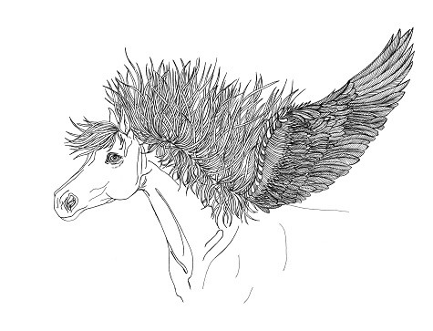 Splendid black-line pegasus head with high mane and a wing tattoo design