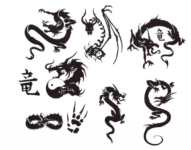 Splendid black asian dragon tattoo designs