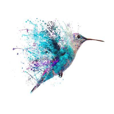 Splendid blue watercolor hummingbird with splash wings tattoo design