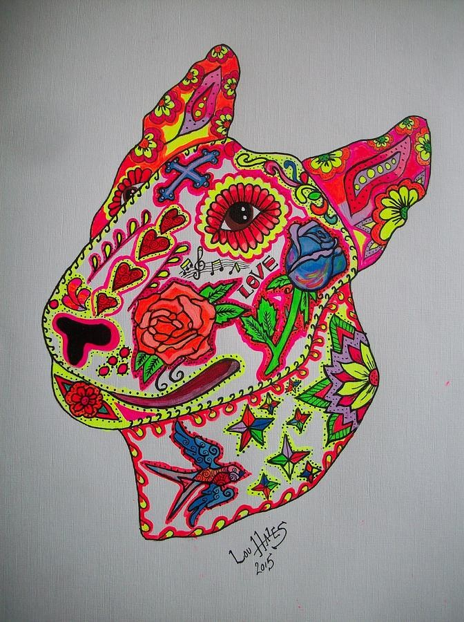 Splendid colored detailed english bull terrier dog head tattoo design
