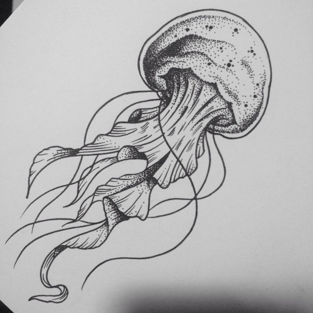 Line Drawing Jellyfish : Splendid dotwork headed jellyfish tattoo design