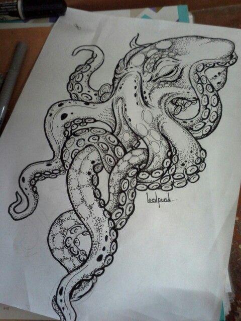 Splendid dotwork sleeping octopus tattoo design