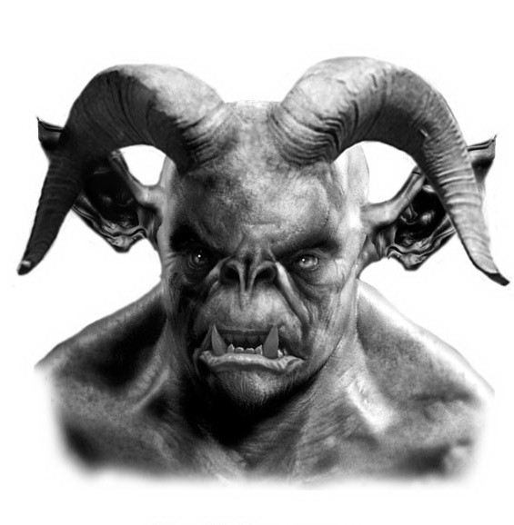 Splendid grey-ink demon portrait with curly aries horns tattoo design