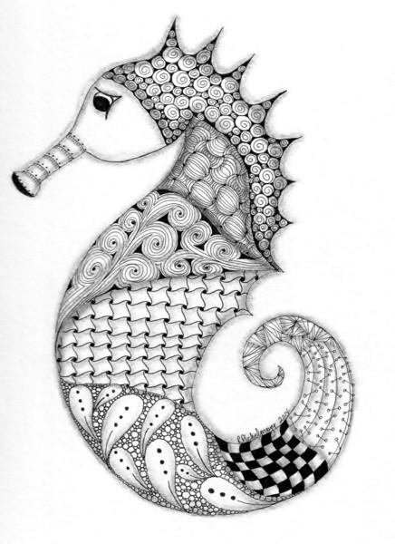 Splendid grey-ink difficult-patterned seahorse tattoo design