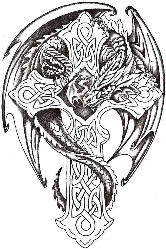 Splendid grey-ink dragon curled around a cross tattoo design