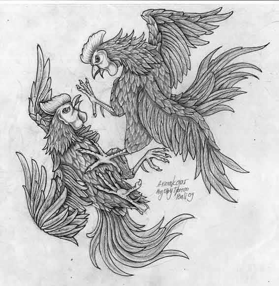 Splendid grey-ink rooster fight tattoo design
