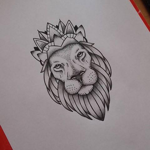 Splendid Grey Dotwork Lion In Crown Tattoo Design Tattooimages Biz
