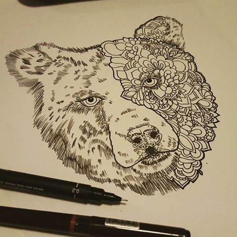 Splendid half floral-patterned grizzly muzzle tattoo design