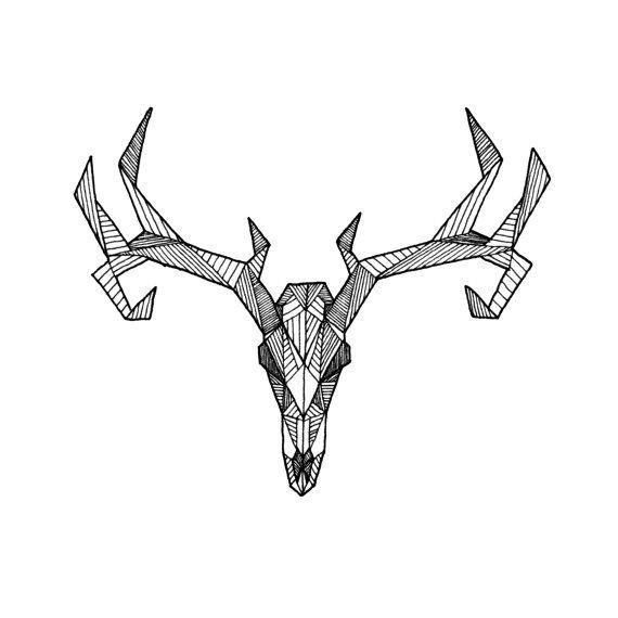 Splendid lined deer skull tattoo design