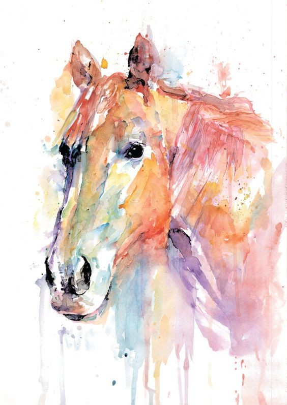 Splendid montly watercolor horse portrait tattoo design