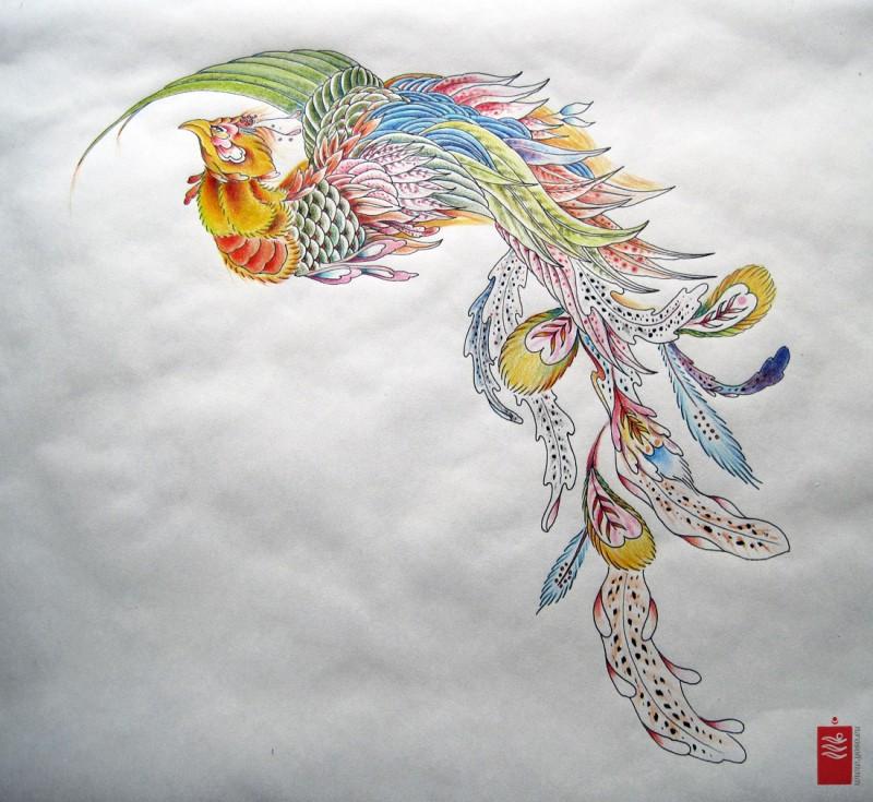 Splendid multicolor phoenix flying to the left tattoo design
