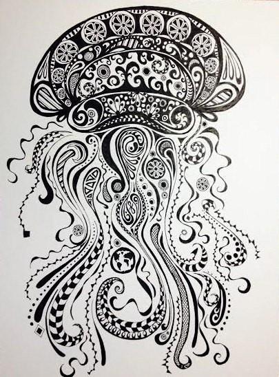 Splendid ornate jellyfish tattoo design