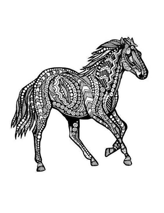 Splendid ornate running horse tattoo design