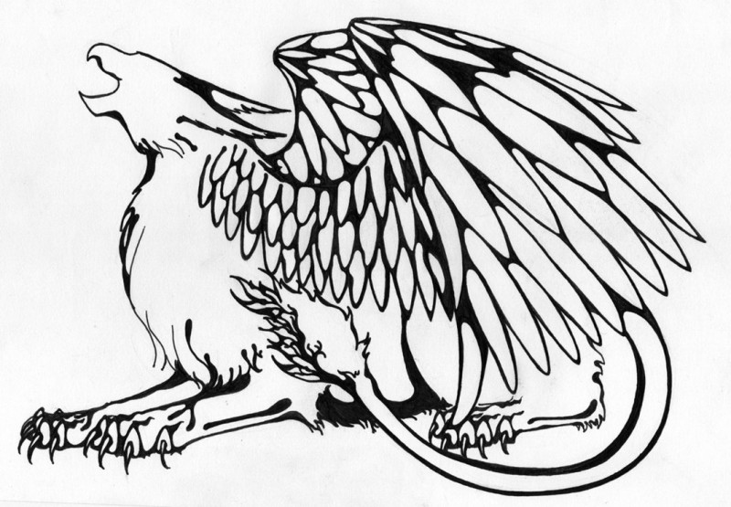Splendid outline crying griffin tattoo design
