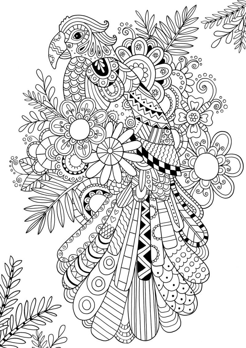 Splendid outline ornate parrot sitting on floral background tattoo design