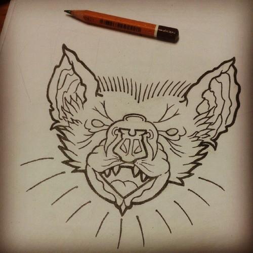 Splendid outline screaming bat muzzle tattoo design