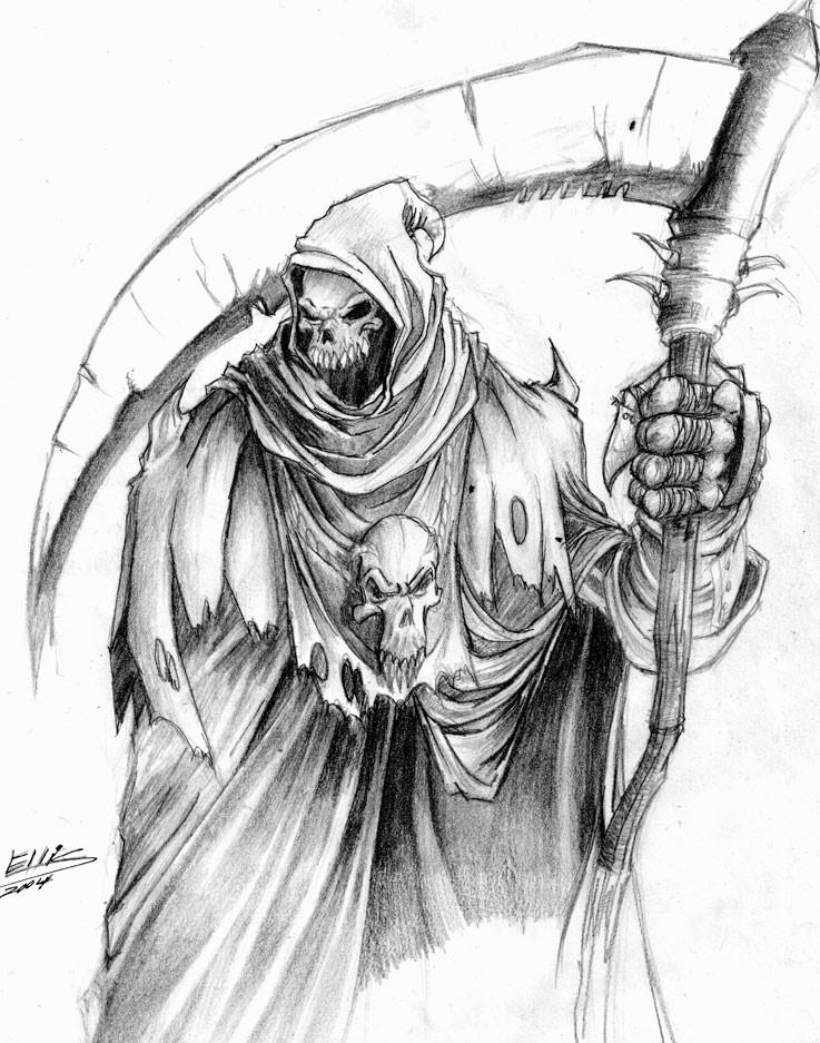 Splendid pencilwork death with a big thick-blade scythe tattoo design