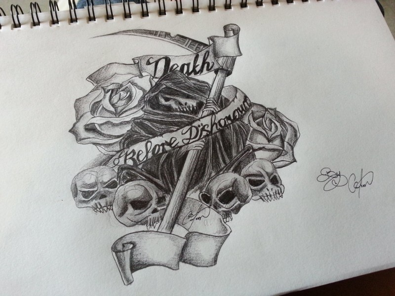 Splendid pencilwork death with a lot of skulls with roses and banner tattoo design by cassandrawilsonenvyd-d5zvjxt