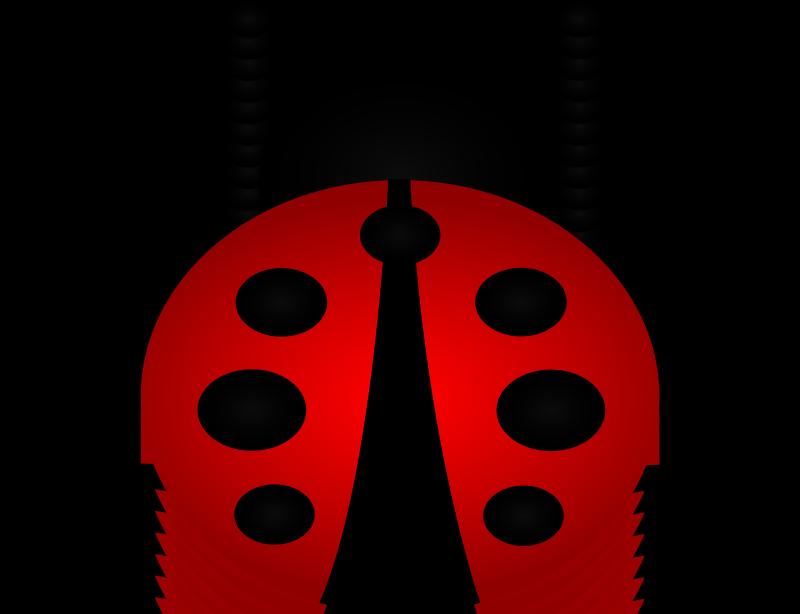 Splendid red-and-black ladybug crawling up tattoo design