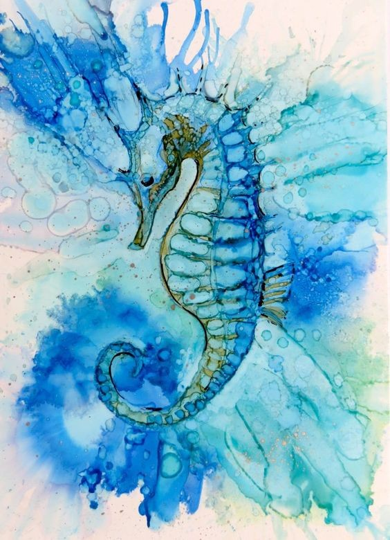 Splendid seahorse with blue watercolor effect tattoo design