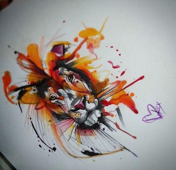 Splendid small watercolor lion muzzle tattoo design