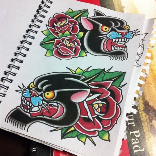 Splendid traditional panther muzzles with roses tattoo design