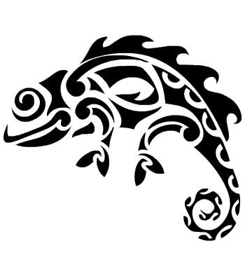 Splendid tribal chameleon tattoo design