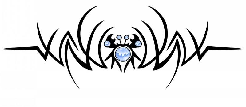 Splendid tribal crab with blue balls elements tattoo design