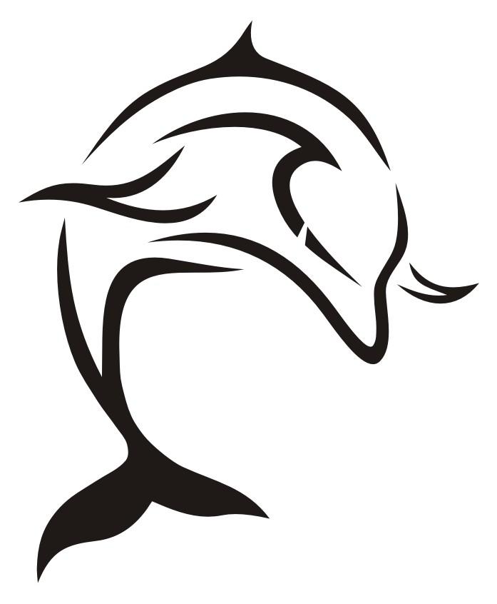 Splendid tribal dolphin tattoo design by Black Beard 1987
