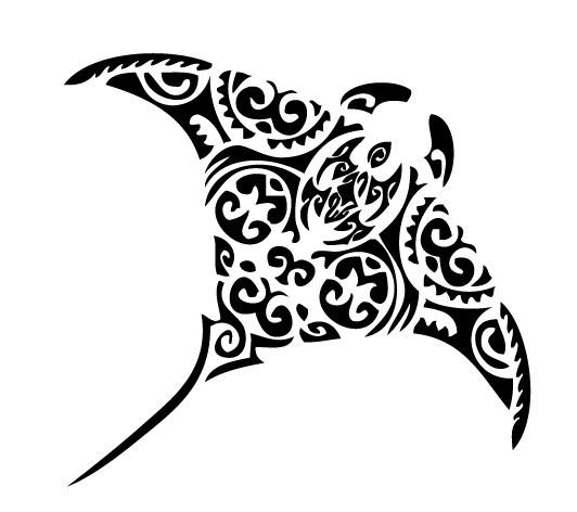 Splendid tribal flying water animal tattoo design