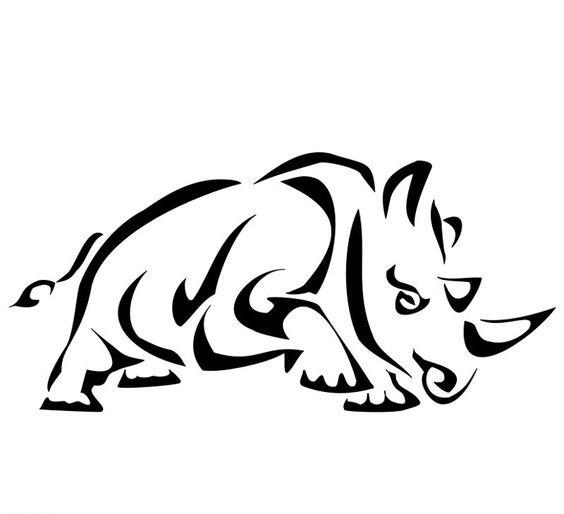 Splendid tribal running rhino tattoo design