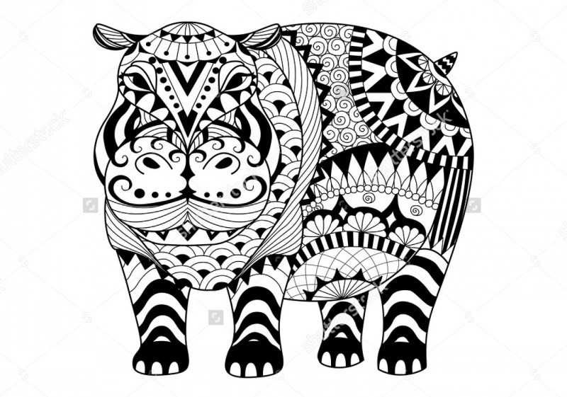 Splendid uncolored patterned hippo tattoo design