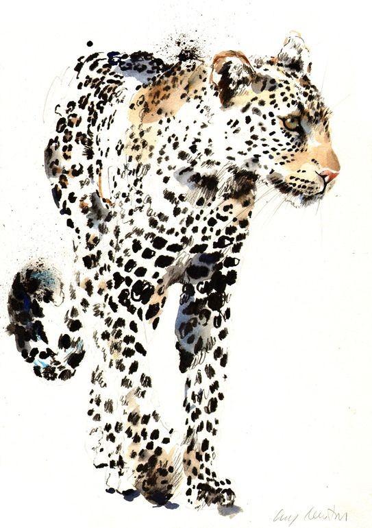 Splendid vivid brown watercolor jaguar tattoo design