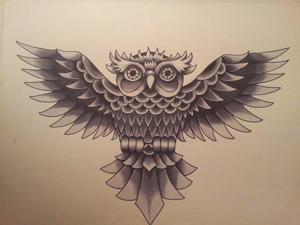 Splengig grey open-winged owl tattoo design