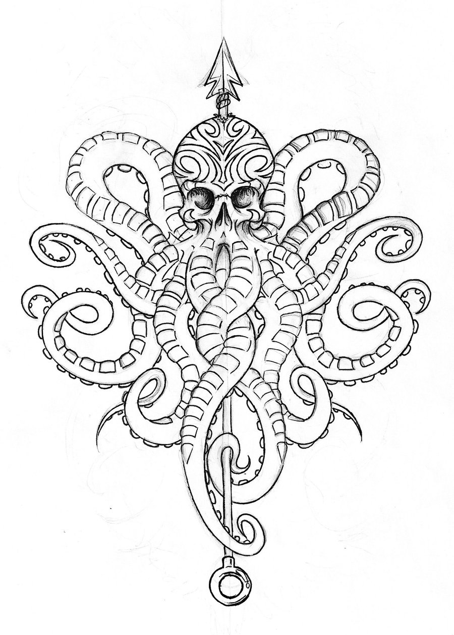 Square-patterned octopus pierced with a long arrow tattoo design