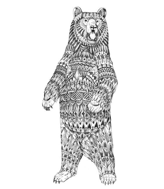 Standing bear with original patterns tattoo design