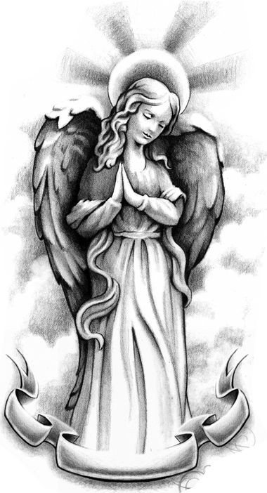 Standing praying angel with a memorial stripe tattoo design
