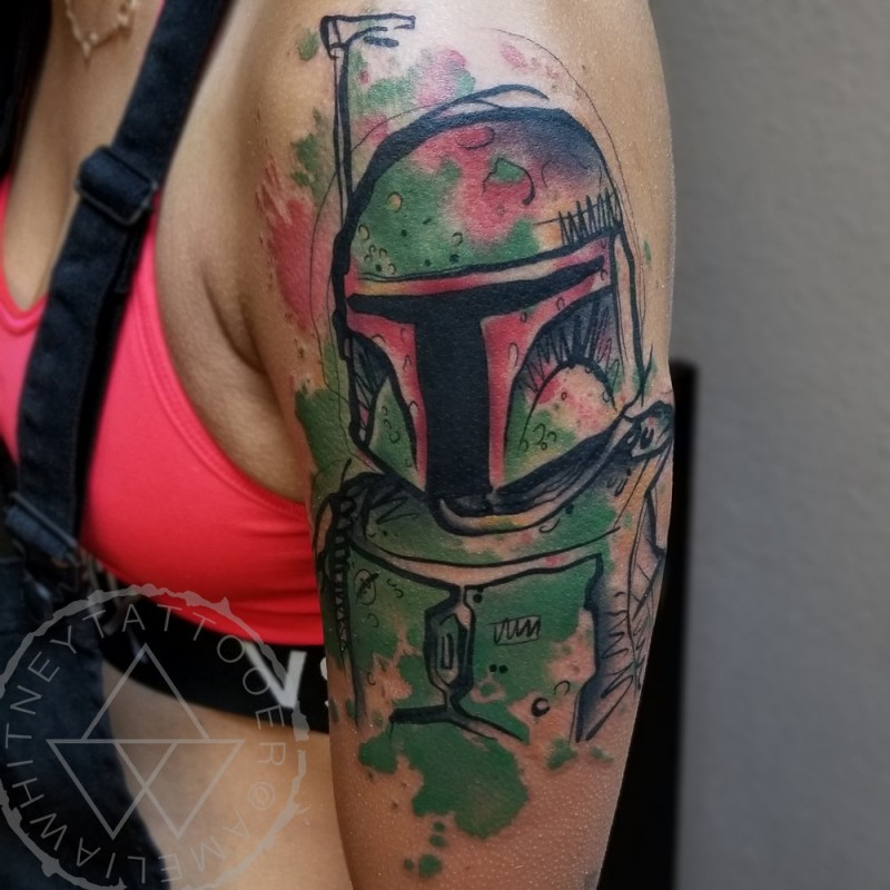 Star wars paratrooper in watercolor style on shoulder